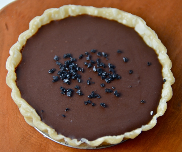 Dark Chocolate, Whisky And Black Salt Tart