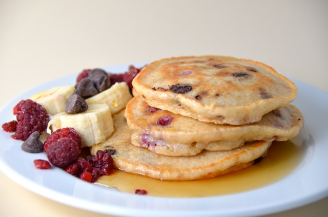 Swedish Chef Pancakes With Chocolate Chips And Raspberries