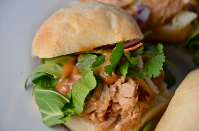 Slow Cooker Asian Turkey Sliders With Peanut Sauce