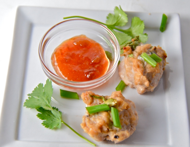 Chile Chicken Cakes With Chile Plum Dipping Sauce