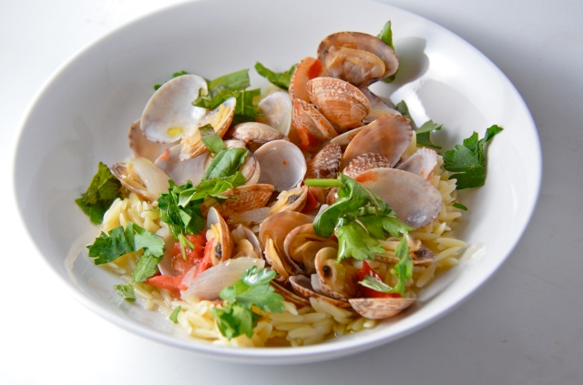 Clams In Rich Broth With Orzo