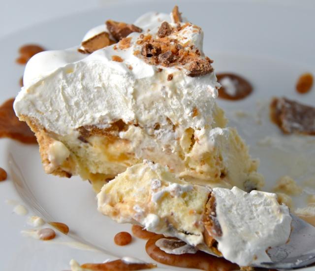Toffee Caramel Crunch Ice Cream Pie