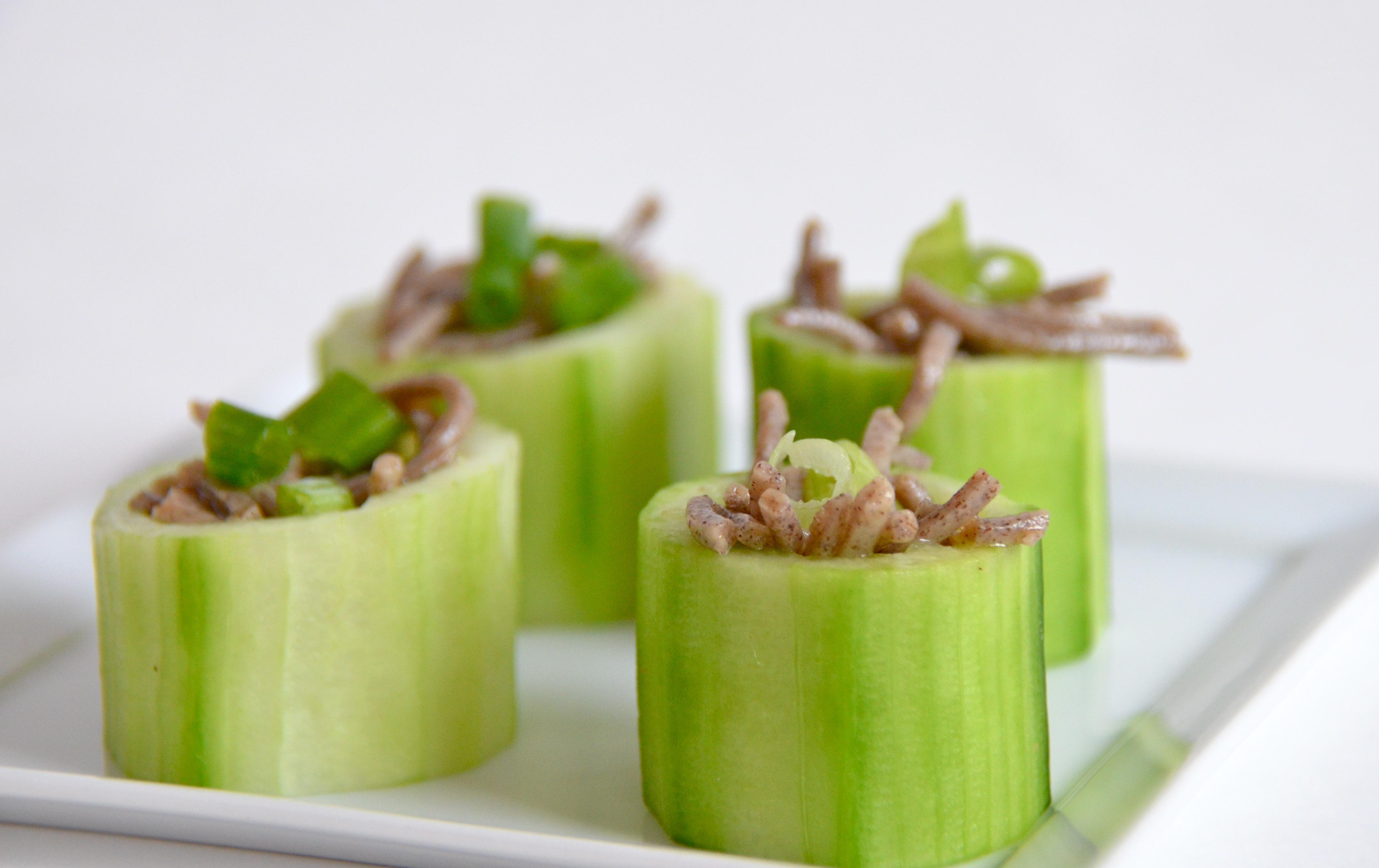 Chilled Soba In Cucumber Cups Recipe — Dishmaps