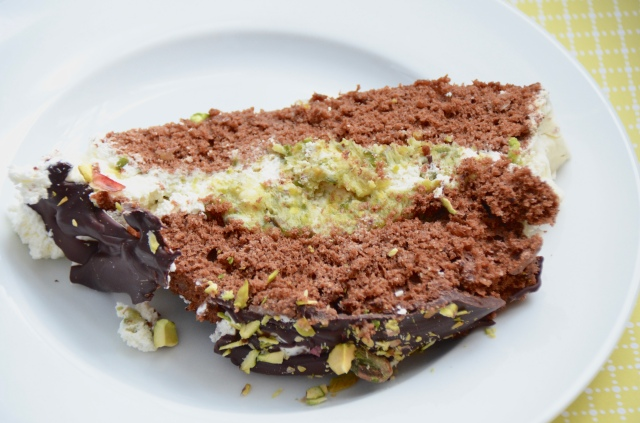 Pistachio And Chocolate Roulade