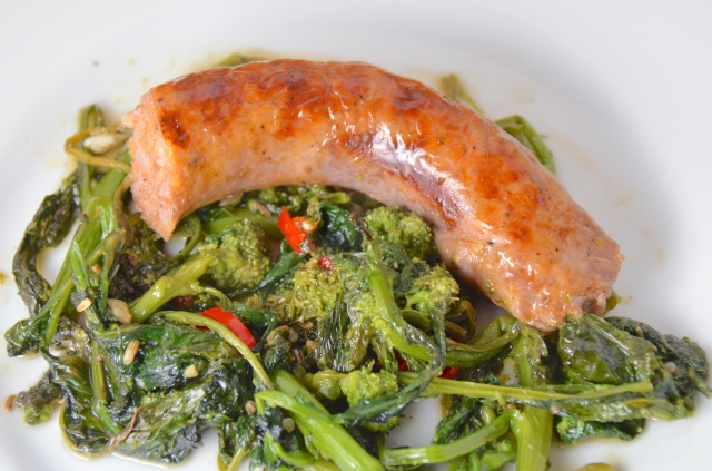 Rope Sausage With Roasted Rapini