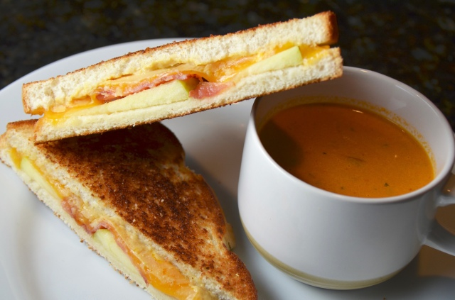 Roasted Tomato Soup With Apple Bacon Grilled Cheese
