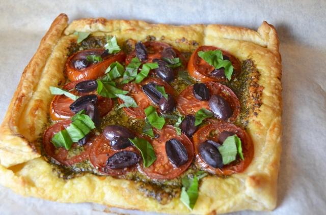 Tomato Pesto Olive Tart