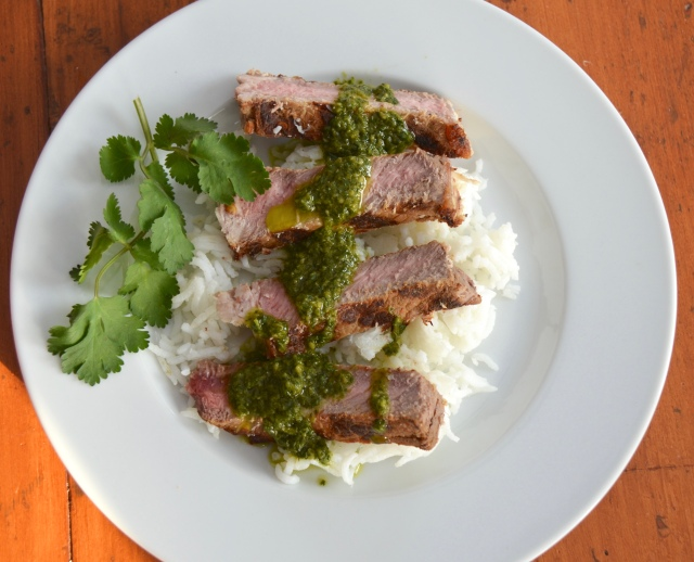 Asian Grilled Steaks With Spicy Cilantro Sauce