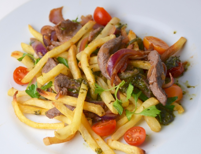 Beef Stir-Fry With French Fries