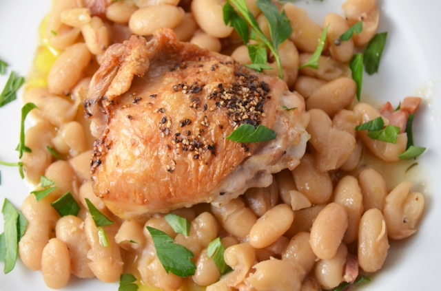 Chicken Thighs With Pancetta, White Beans, And Rosemary