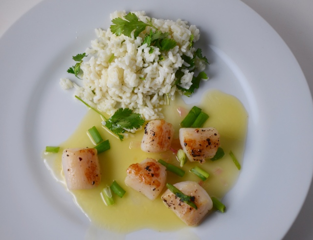 Scallops With Lemon Sorbet-Butter Sauce