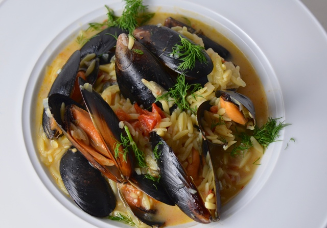 Saffron Mussels With Orzo And Tomatoes