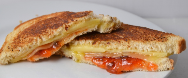 Parmesan Crusted Fondue Grilled Cheese With Pepper Jelly