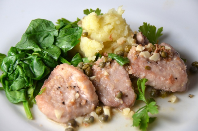 Pork Piccata With Spinach And Garlic Mashed Potatoes