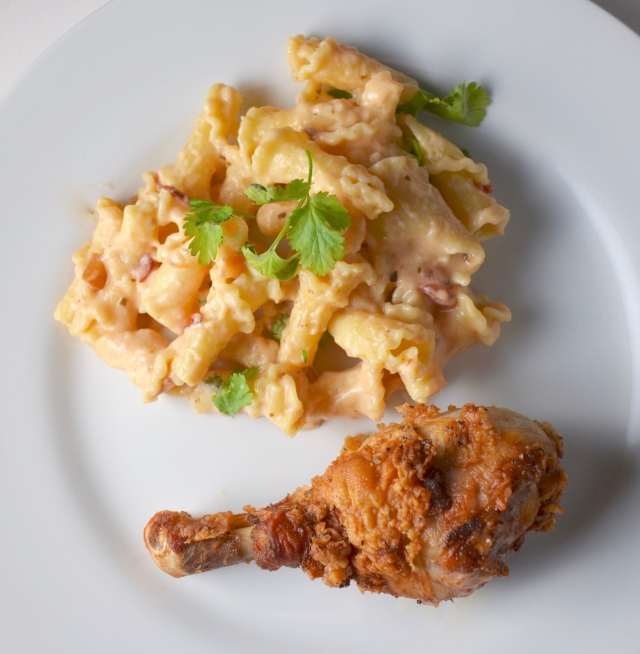 Buttermilk Fried Chicken And Salsa Mac And Cheese