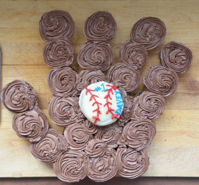 Baseball Glove Cupcake Cake