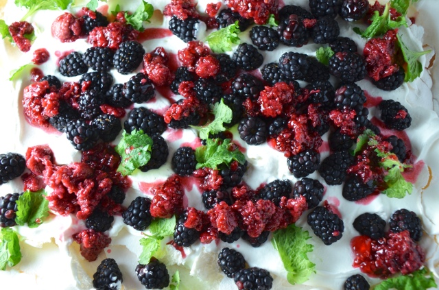 Smashed Pavlova With Blackberries And Roasted Raspberry Jam
