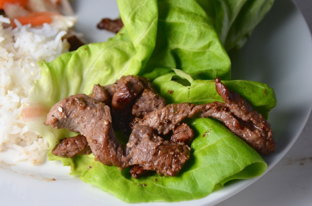 Korean Style Beef Wrapped In Lettuce Leaves