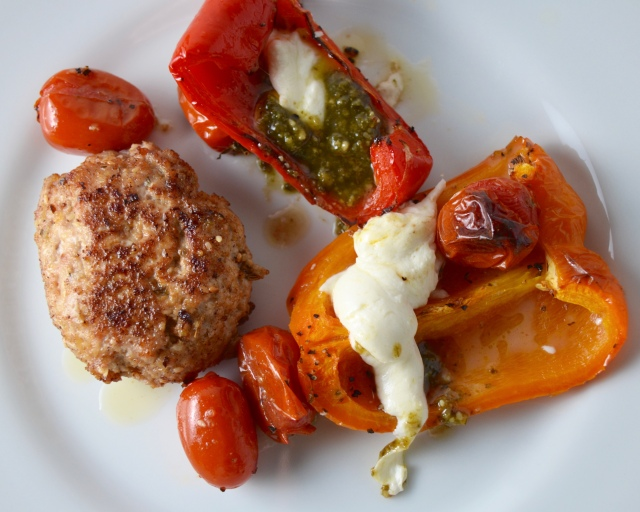 Spiced Pork Patties. Blistered Peppers With Tomato, Mozzarella And Pesto.