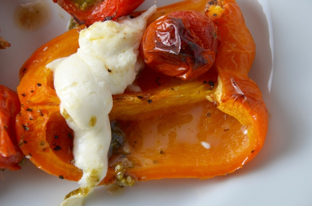 Blistered Peppers With Tomato, Mozzarella And Pesto.