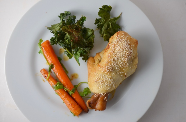 Harissa Carrots, chicken and BBQ Kale Chips