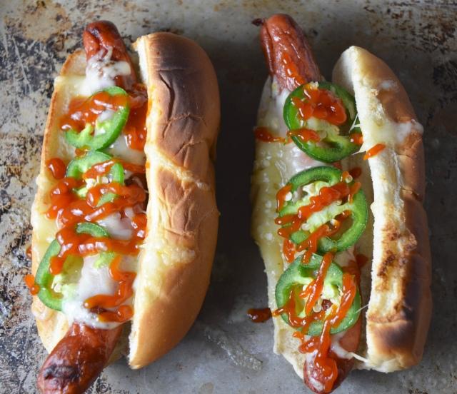 Cheesy Sriracha Hot Dogs