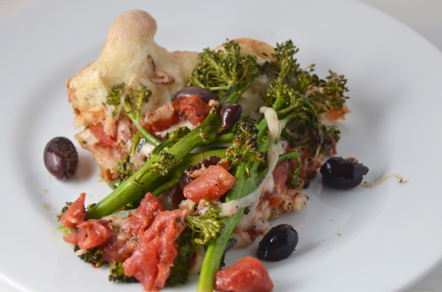 Broccolini And Olive Skillet Pizza