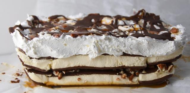 Turtle Ice Cream Sandwich Cake
