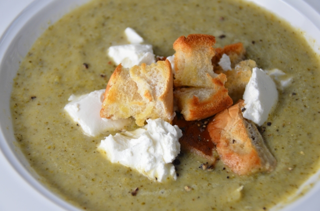 Broccoli Soup With Crispy Croutons & Goat's Cheese