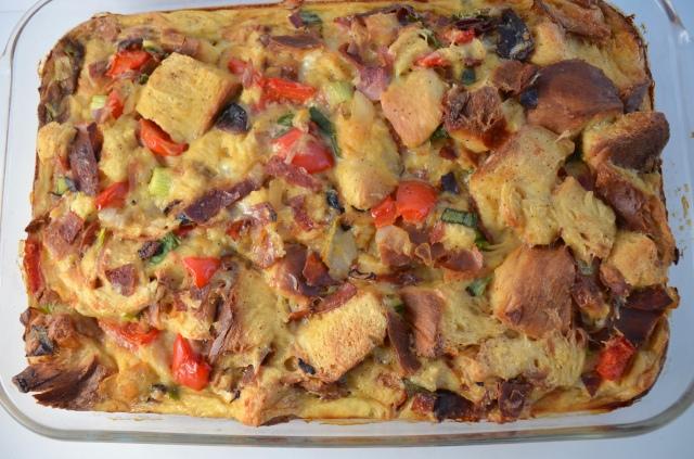 Overnight Pepperoni, Shiitake, Cheese, Challah Casserole