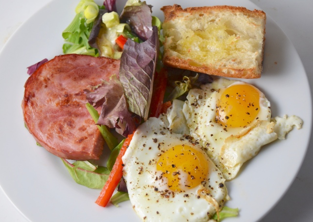 Ham And Eggs With Greens
