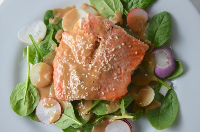 Glazed Salmon With Spinach And Radish Salad