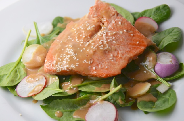 Glazed Salmon With Spinach And Radish Salad