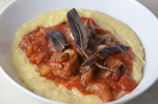 Browned Butter Polenta With Sausage & Mushroom Ragù