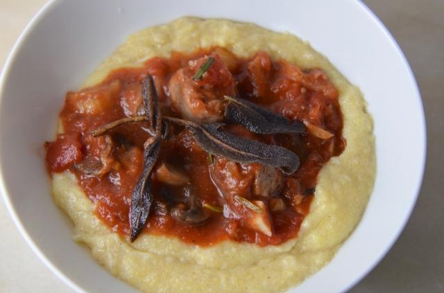 Browned Butter Polenta With Sausage & Mushroom Ragù